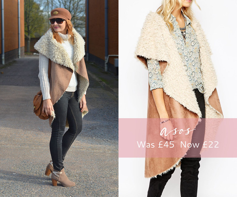 January 2016 Sales | ASOS shearling & suede drape gilet