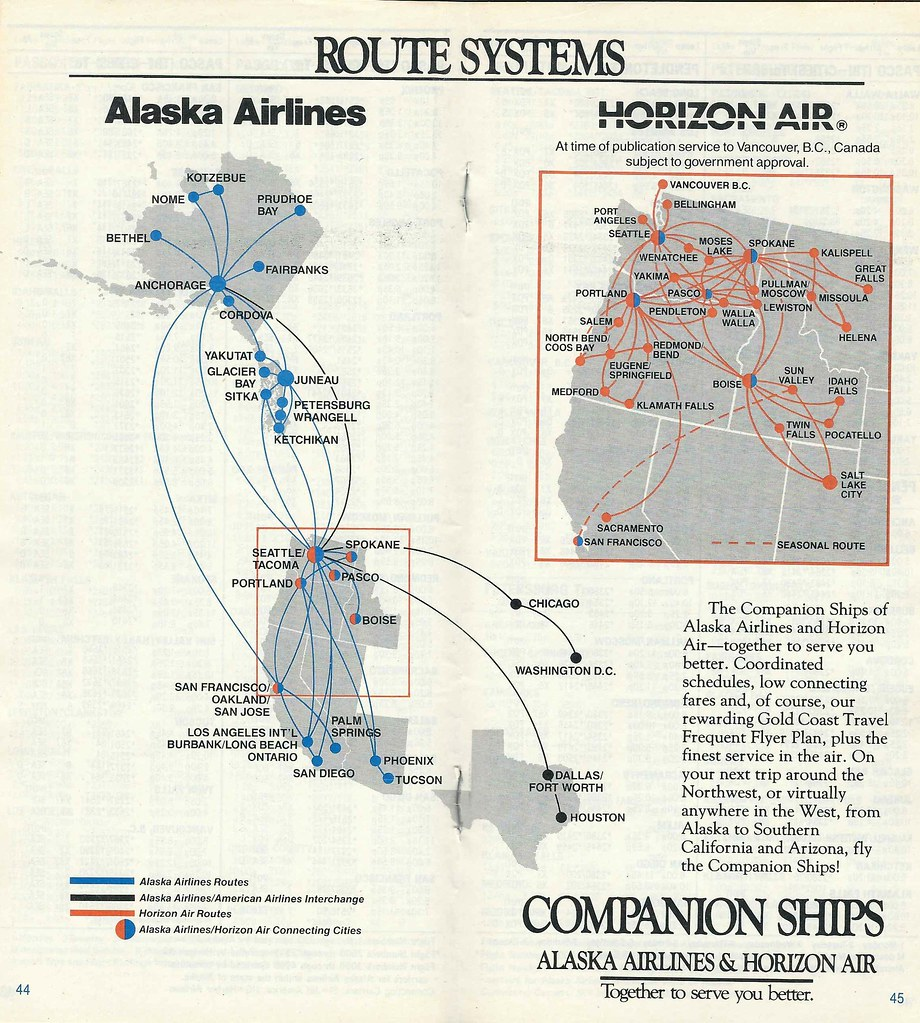 Airline Maps — Alaska Airlines and Horizon Air route system, 1987...