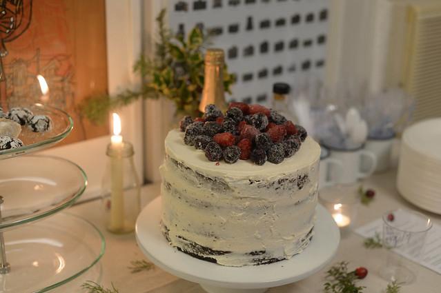 chocolate cake & berries