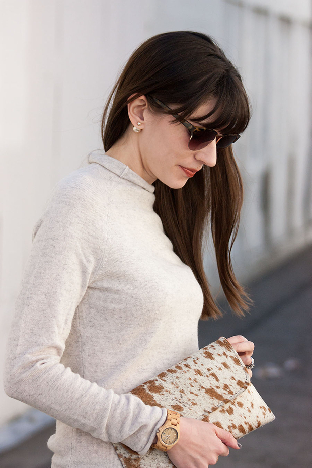 Cowhide Clutch, Cashmere Sweater