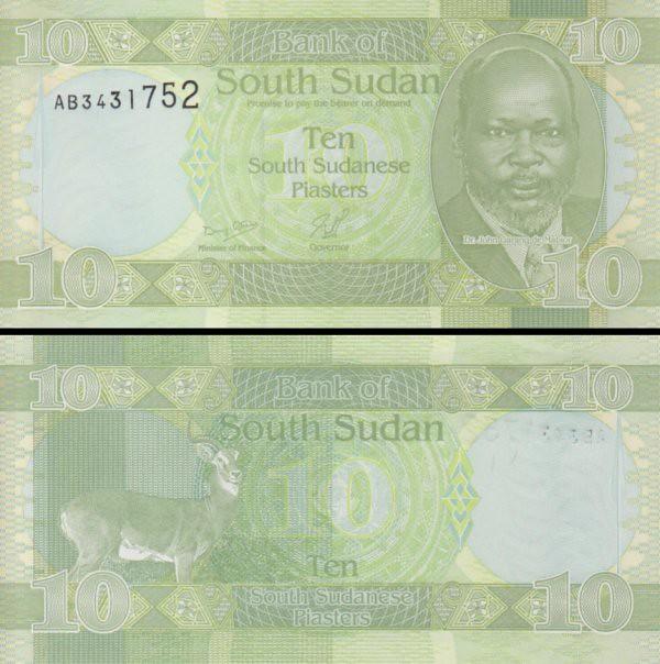 10 Piastrov Južný Sudán 2011, P2 UNC