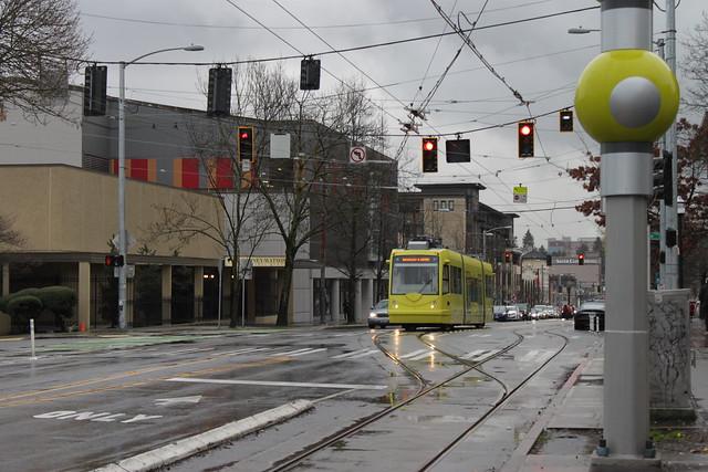 Streetcar 403 waiting at a traffic light