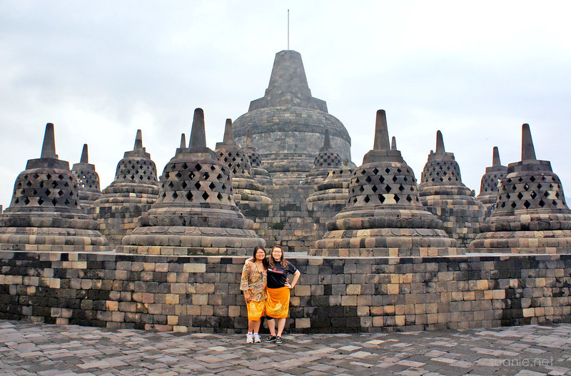Borobudur, Yogyakarta - Suanie and Joyce near main stupa