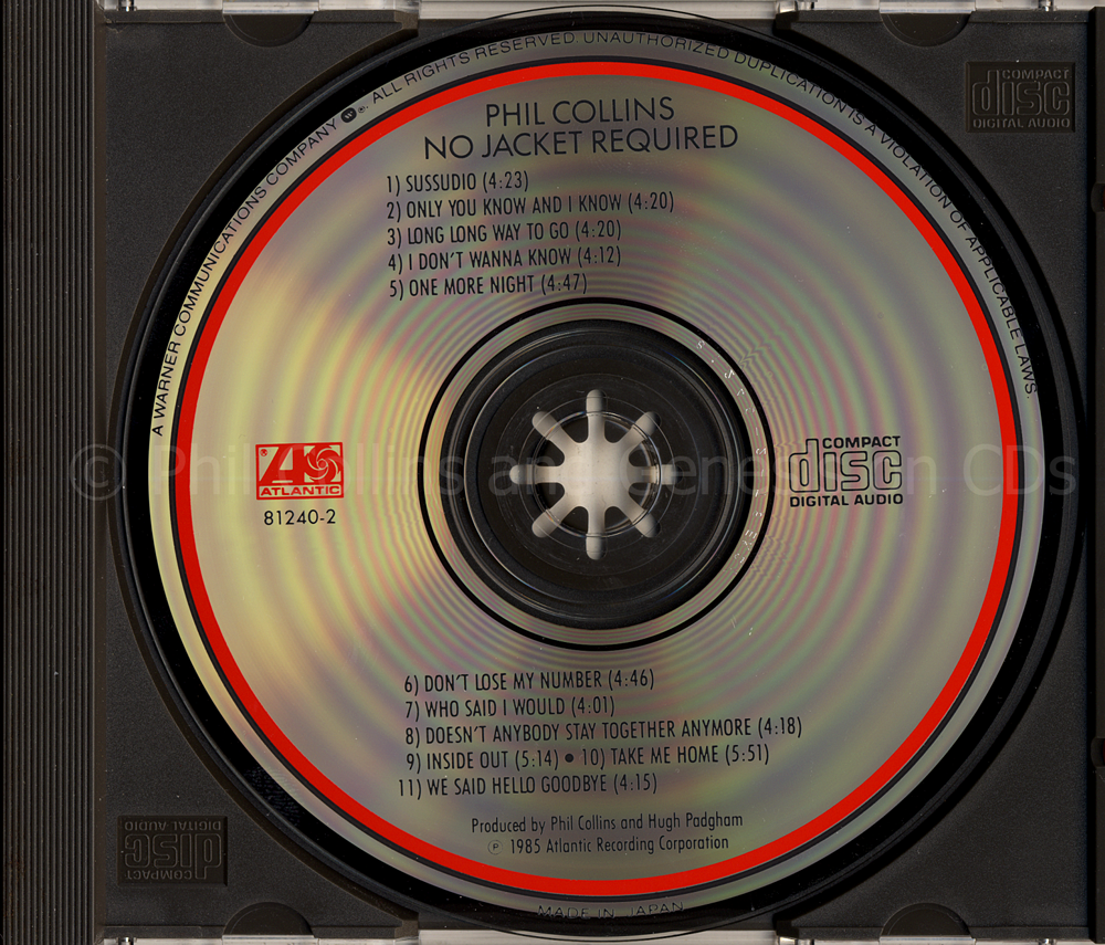 No Jacket Required, disc