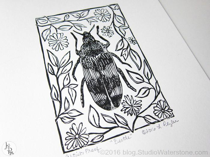 Beetle Relief Print