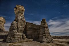 Monument Rocks in Moonlight.
