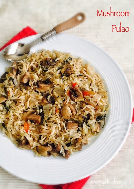 Mushroom Pulao Recipe for Toddlers and Kids1