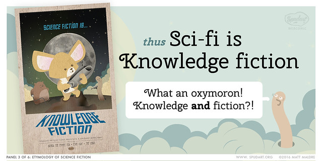 Panel 3/6: Etymology of science fiction