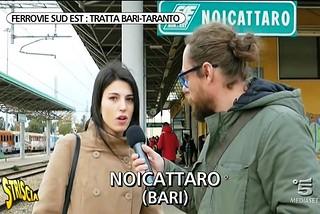 Noicattaro. Striscia La Notizia in stazione front