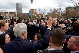 Secretary Kerry Greets The Crowd Outside The National History Museum in Tirana, Albania