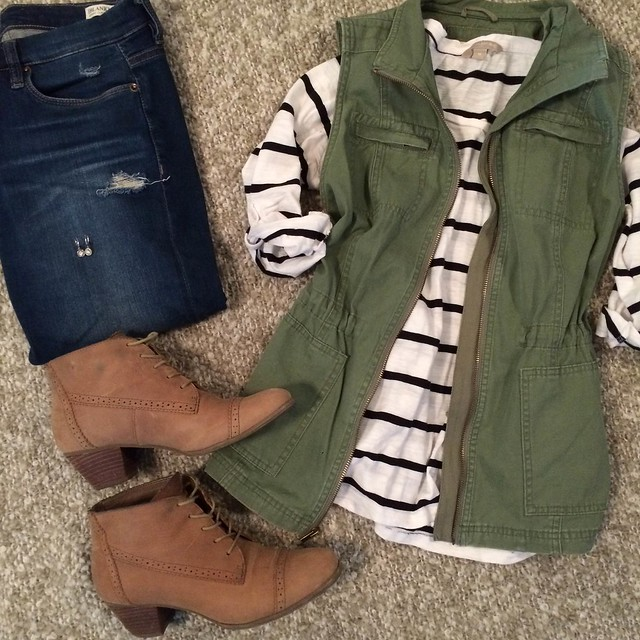 olive vest + striped shirt + distressed skinny jeans + tan booties