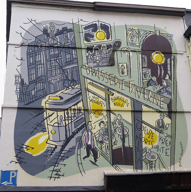A mural of a street scene on a wall in Brussels, Belgium