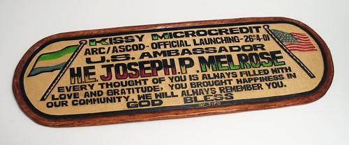 Plaque presented to Ambassador Joseph Melrose