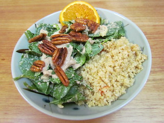 Spinach Salad Bowl with Warm Pecan Dressing