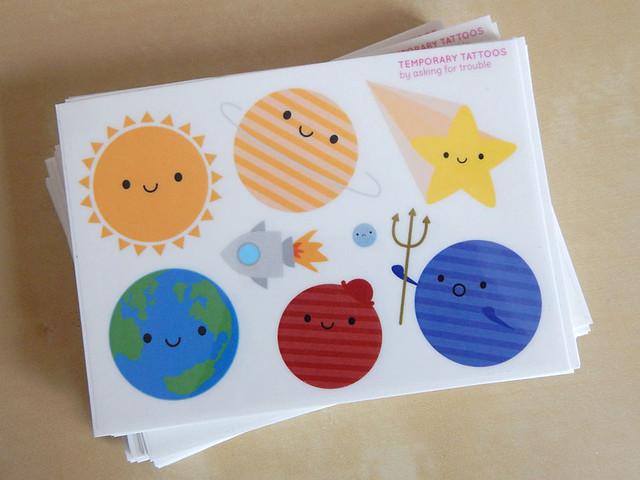 Solar System temporary tattoos for Super Cute Box
