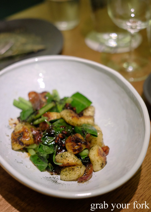 Potato gnocchi, lap cheong, chilli and kombu butter at Bar Brose, Darlinghurst