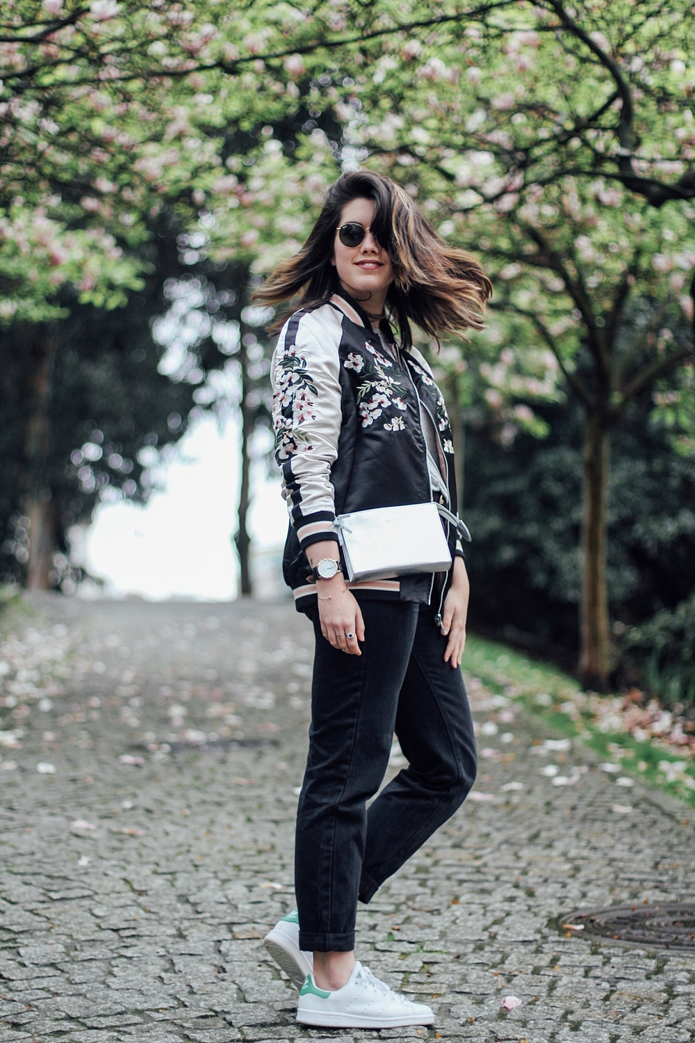 Look with Reversible bomber jacket with embroidery detail myblueberrynightsblog