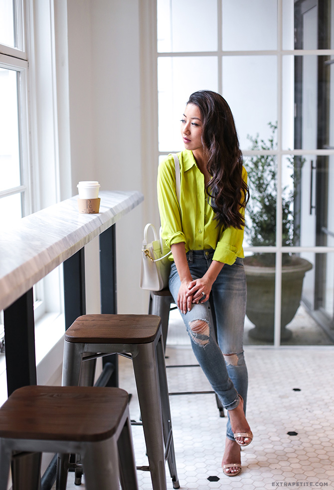 neon equipment silk blouse rag bone jeans petite fashion