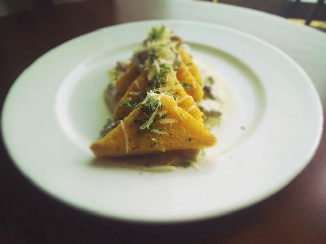 Grilled Polenta With Wild Mushroom Fricasse
