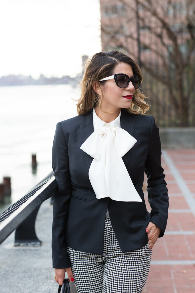 what to wear to work houndstooth trousers pants to work kate spade bow blouse white top to work black blazer citizen's Mark blazers work bags fendi sac 2 jour manolo blannik corporate fashion bloggers work blogger how to war a bow blouse to work black suede heels black cat sunglasses corporate catwalk work look