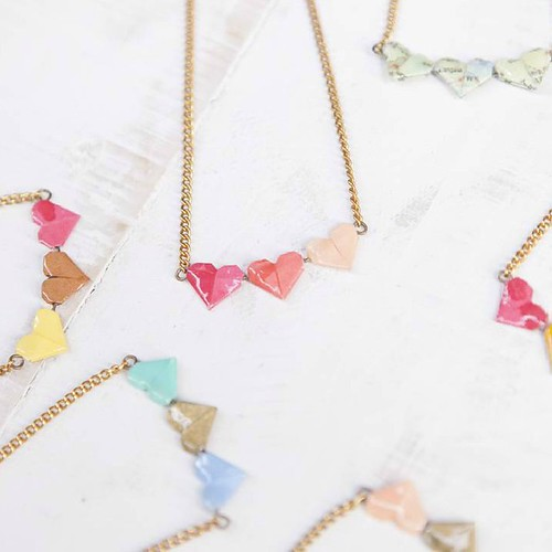 Origami Heart Necklaces by Little Ray of Sunflower