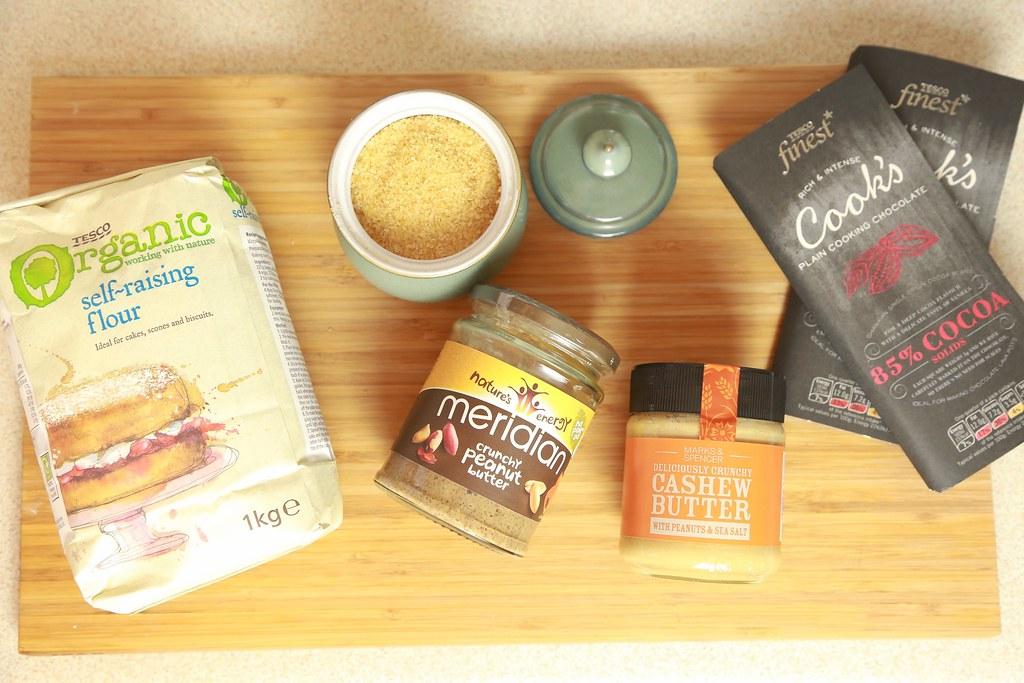 cashewnutbutterbrownies, peanututterbrownies, ingredients,