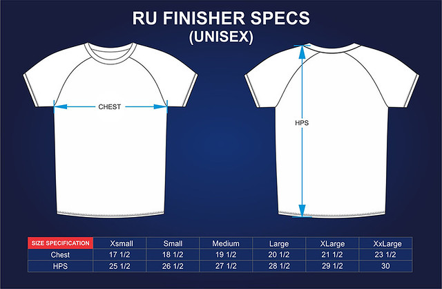 Run United 2016 Finisher's Shift Size Measurements
