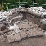The base of the stairwell in the south-western Goldsmith's Tower, prior to excavation.