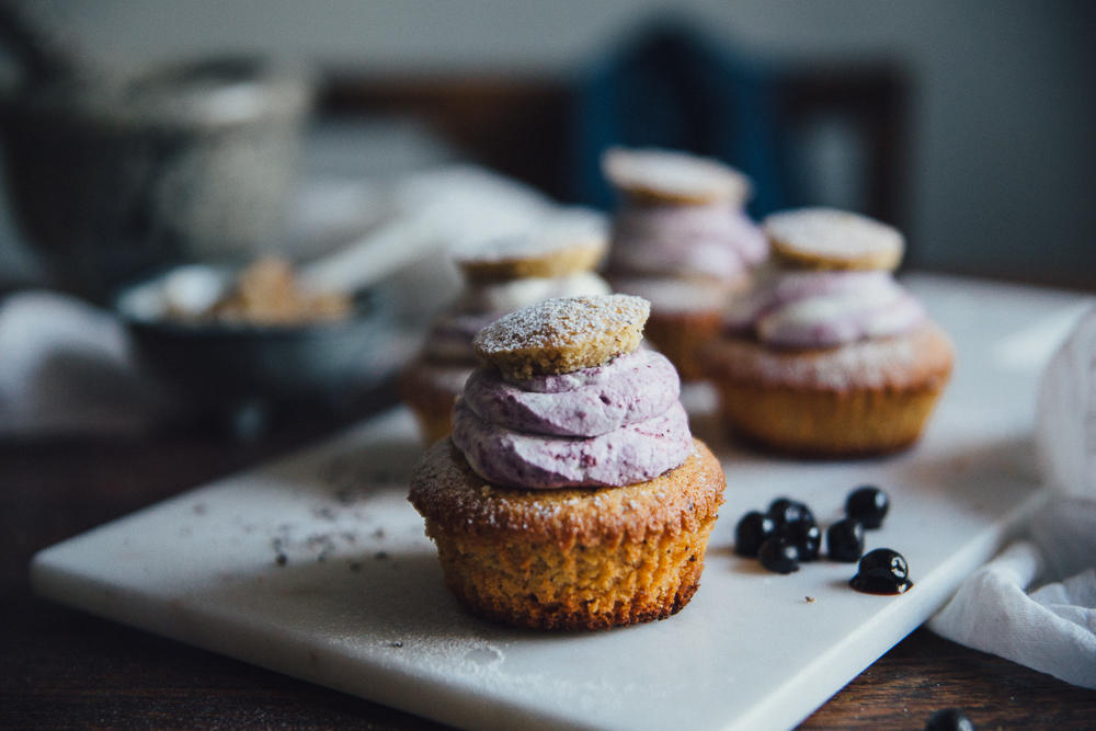 "Swedish Muffin ""Semla"" with Almond Filling & Blueberry Cream 