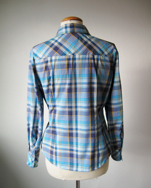 blue plaid shirt back