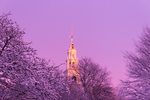 Meetinghouse Steeple at Sunset,Dorchester, MA, February, 5, 2016