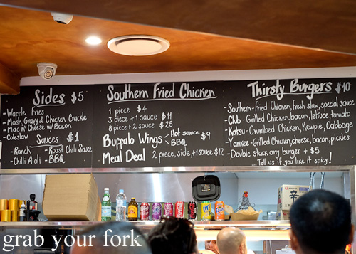 Fried chicken, burgers and sides menu at Thirsty Bird, Potts Point