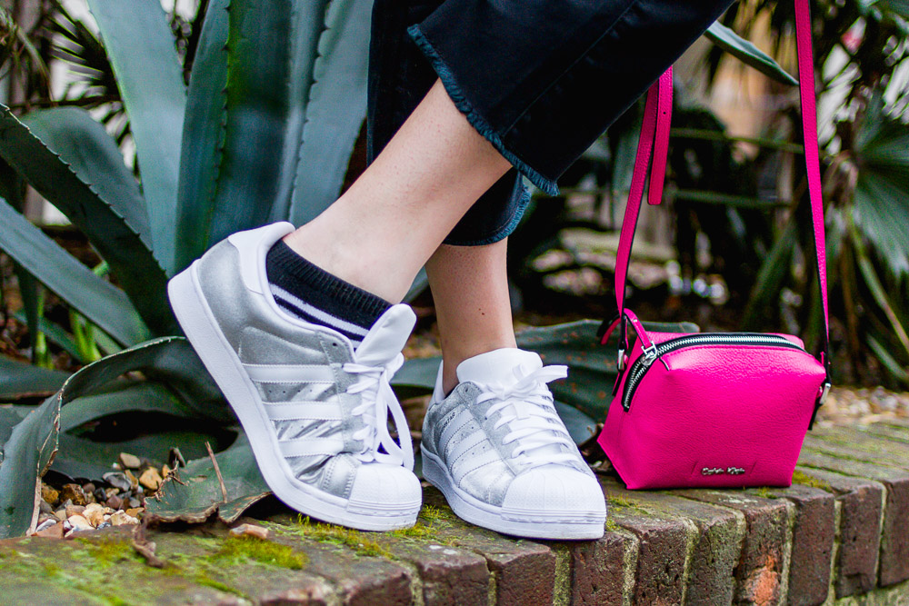 adidas silver glitter superstar trainers and pink calvin klein bag