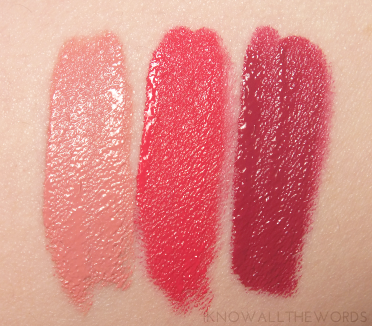 Lise Watier Basier Satin Liquid Lipstick First Kiss, Bombshell Kiss, and Fancy Kiss (6)
