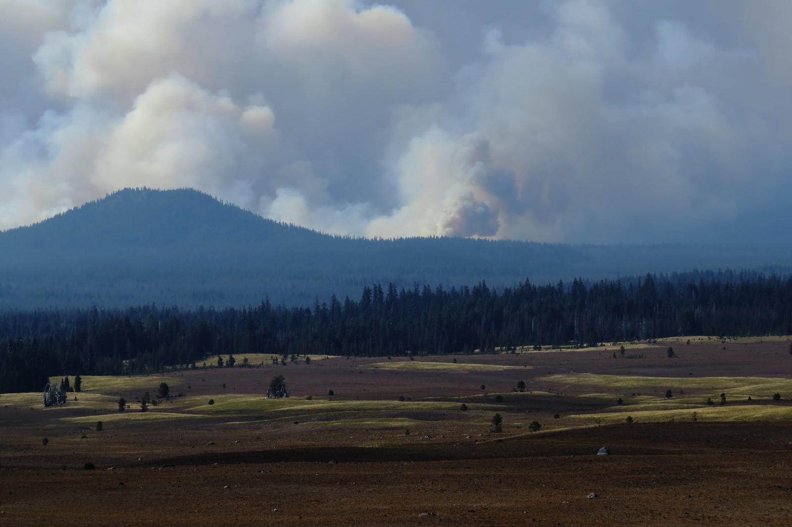 Smoke from the fire, Umpqua Forest, Oregon