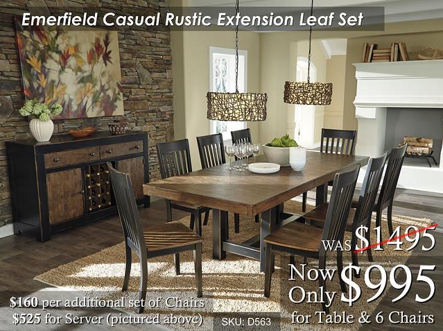 Emerfield Casual Rustic Dining Set Leaf