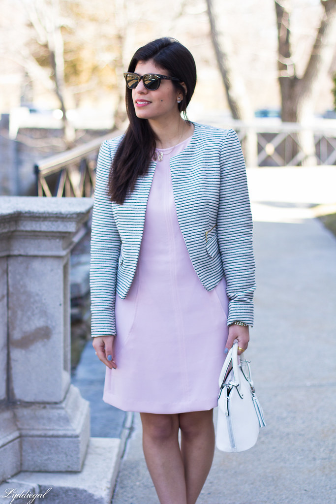 blush dress, striped blazer, white bag, silver heels-11.jpg