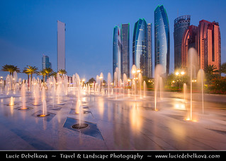 United Arab Emirates - UAE - Abu Dhabi - Brand new modern skyline with sky high skyscrapers at Dusk - Twilight - Blue Hour - Night