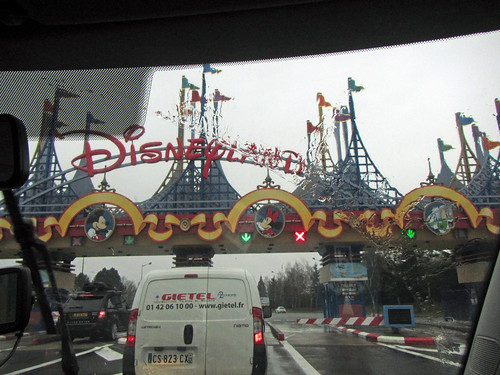 arriving at the parking lot of the Disneyland Paris parks