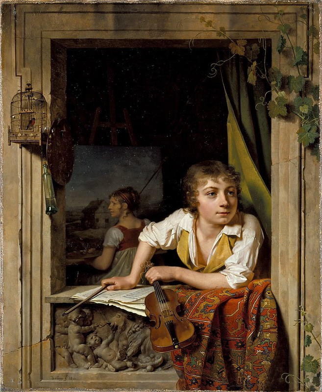 Martin Drolling - Painting and Music (Portrait of the Artists Son) (1800)