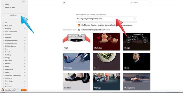 Feedly desktop add content