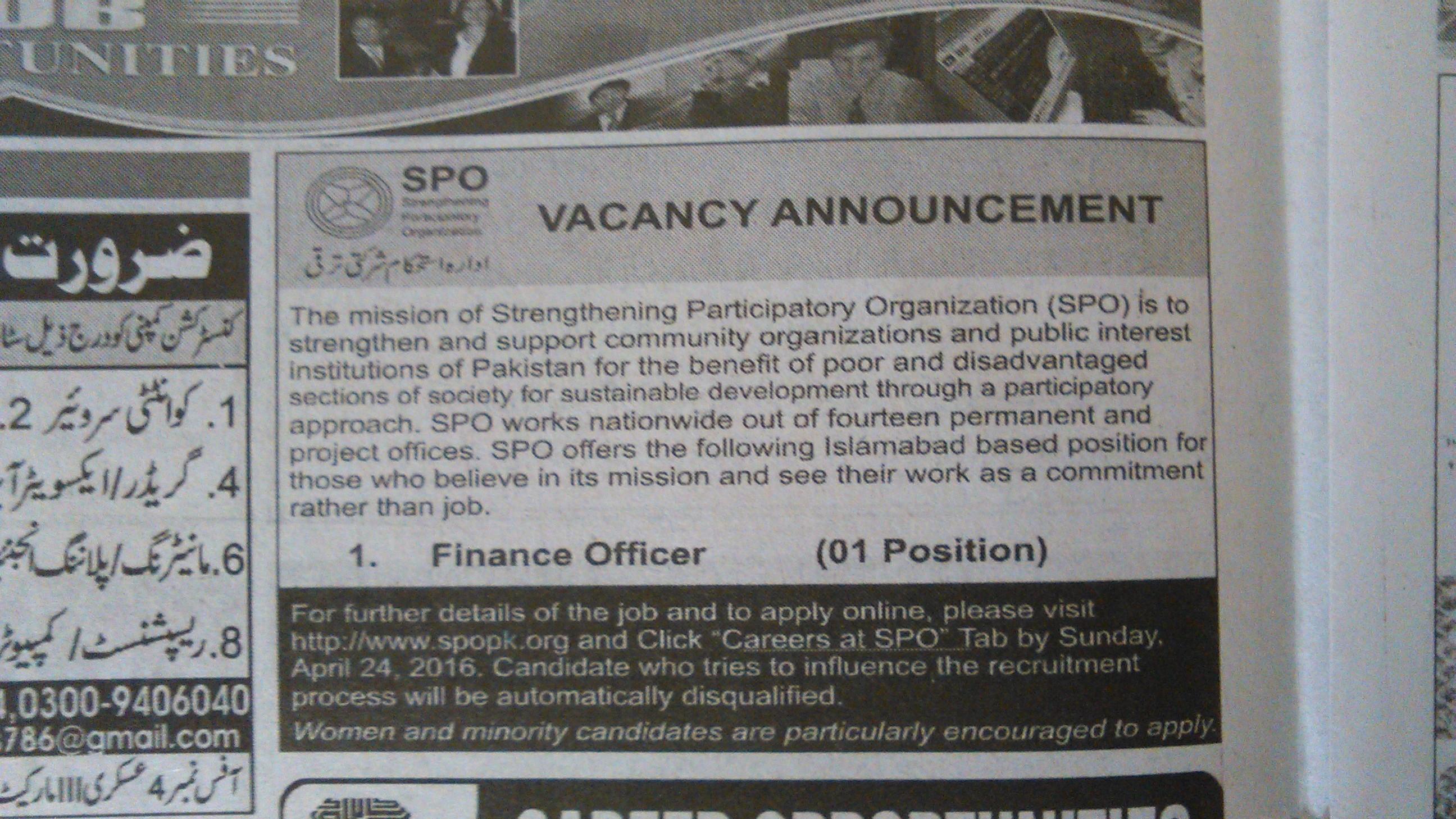 SPO Requires Finance Officier