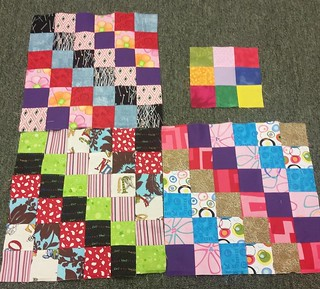 Extremely productive night at club sew. Three Trip Around the World blocks,  the start of Farm Girl Vintage block, 80 or so starts to X blocks, and 6 strips of cowgirl coin.