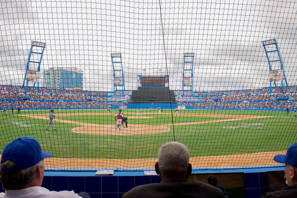 Cuban National Baseball Team Pitcher Throws Pitch at Exhibition Game Attended by U.S. President Obama, Secretary Kerry in Havana, Cuba
