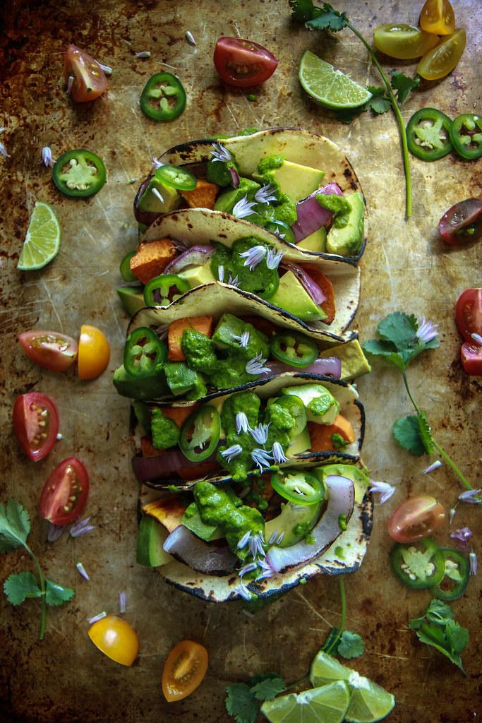 Sweet Potato Avocado Tacos- Vegan and GF from HeatherChristo.com