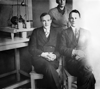 Grandfather in his lab with Ivan Balygin and Grandma Anna