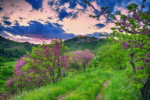 fanari karditsa thessaly greece landscape nature sunset clouds sky monuments spring springtime castles