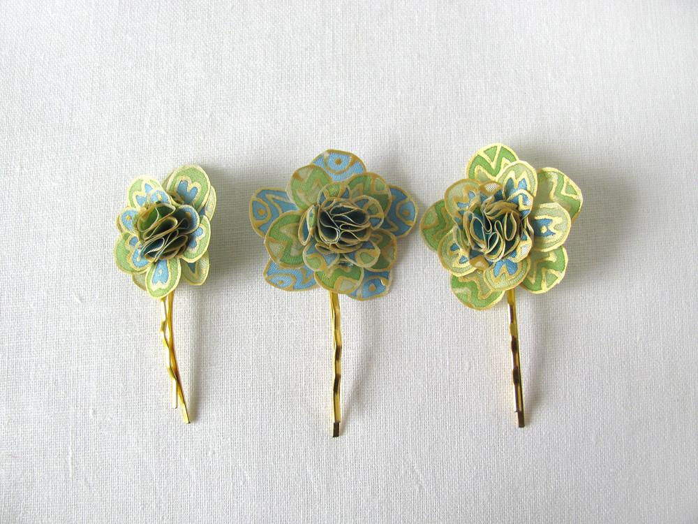 Simutess most interesting flickr photos picssr three small silk flower hair pins gold blue green mightylinksfo