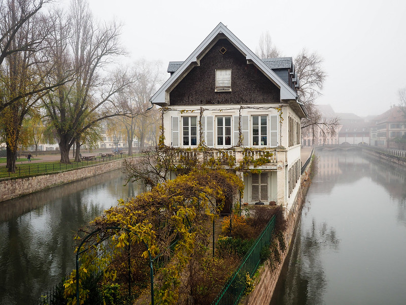 Foggy morning in Strasbourg, France