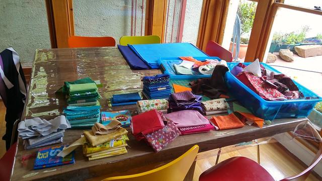 E volunteered to help me organise fabric. No, no, no, no, no.